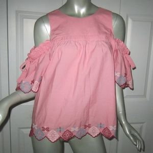 LOFT Pink Cold Shoulder Embroidered Blouse Small